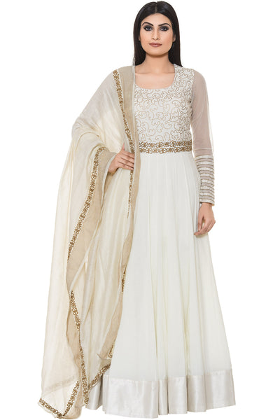 Buy White Floor Length Suit With Golden Embroidery on Yoke and Dupatta Online at indi.fashion