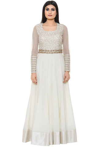Indi Fashion White Floor Length Suit With Golden Embroidery on Yoke and Dupatta