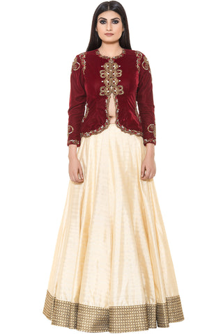 Buy Cream Skirt With Maroon Velvet Embroidered Jacket Online at indi.fashion