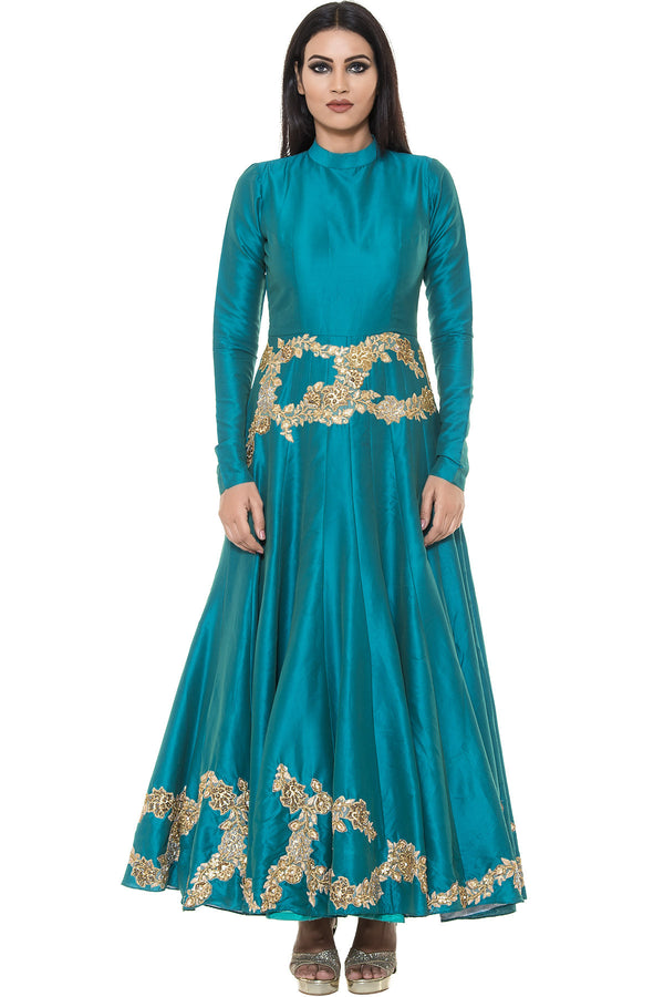 Indi Fashion Teal Blue Anarkali Suit With Floral Embroidery
