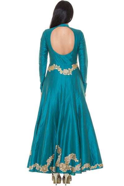 Buy Teal Blue Anarkali Suit With Floral Embroidery Online at indi.fashion