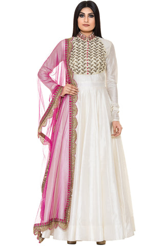 Buy White Floor Length Suit With Golden Embroidery on Yoke Pink Dupatta Online at indi.fashion