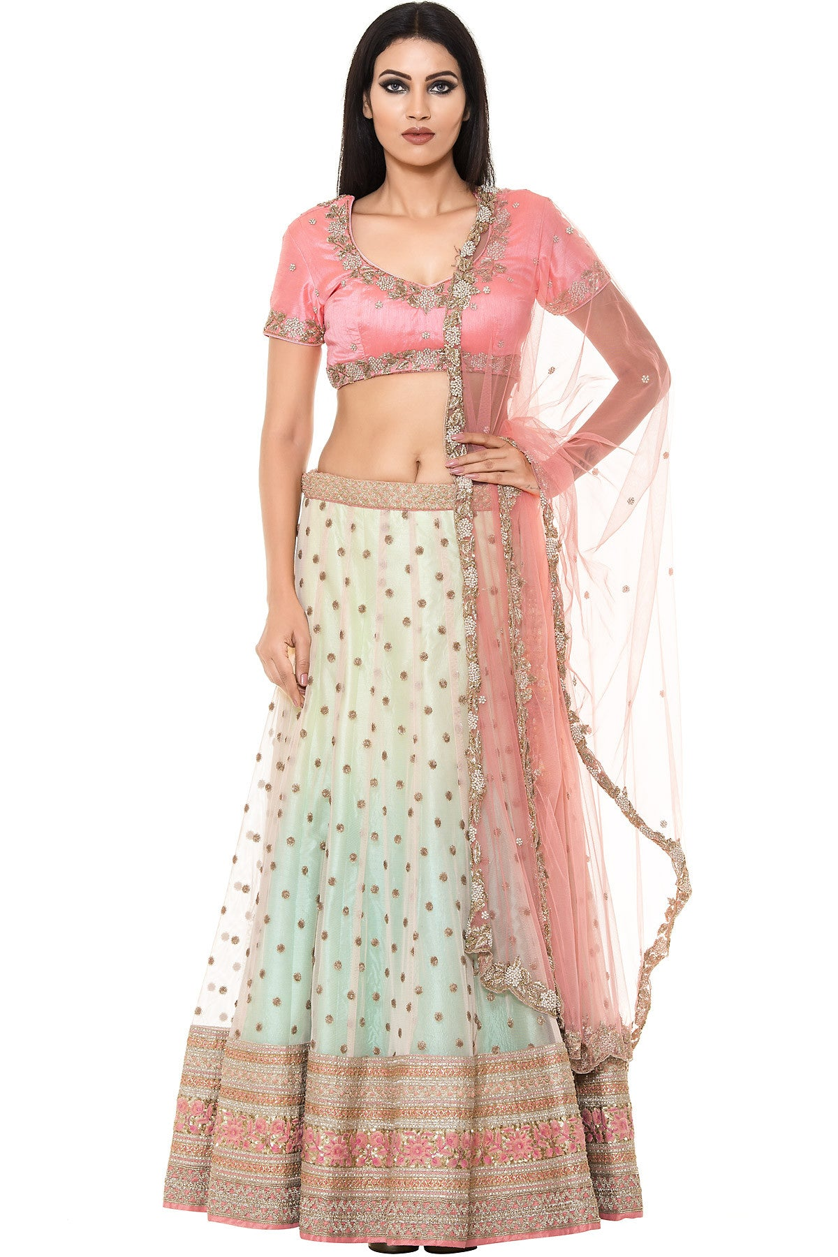Buy Mint Green and Pink Lehenga set With Embroidery Online at indi.fashion