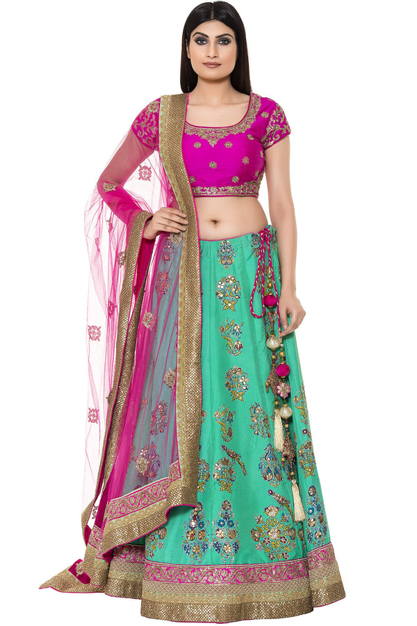 Indi Fashion Sea Green and Magenta Printed Lehenga Set