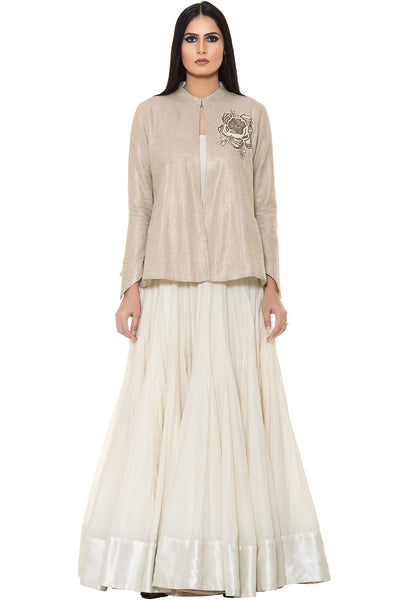 Buy White Floor Length Anarkali With Golden Embroidered Jacket Online at indi.fashion