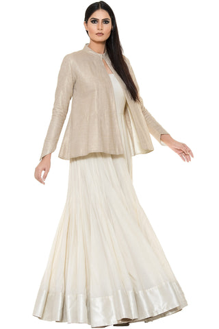 Indi Fashion White Floor Length Anarkali With Golden Embroidered Jacket