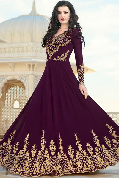 Wine Georgette Party Wear Anarkali Suit