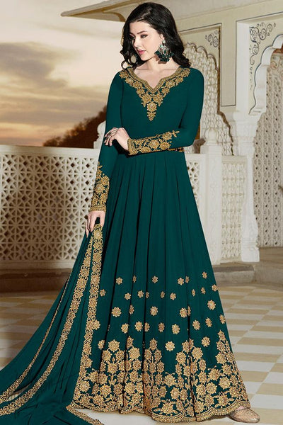 Green Georgette Party Wear Anarkali Suit