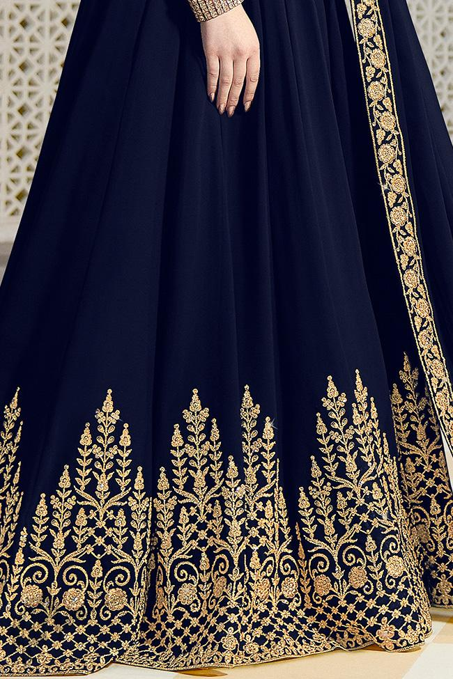 Ink Blue Georgette Party Wear Anarkali Suit