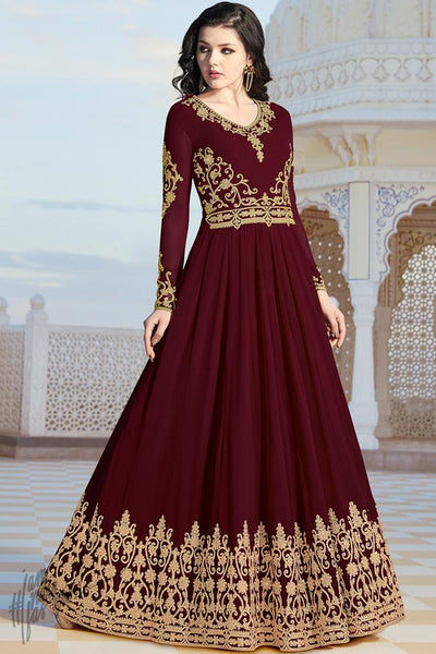 Maroon Georgette Party Wear Anarkali Suit