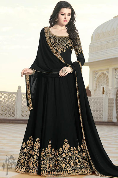 Black Georgette Party Wear Anarkali Suit