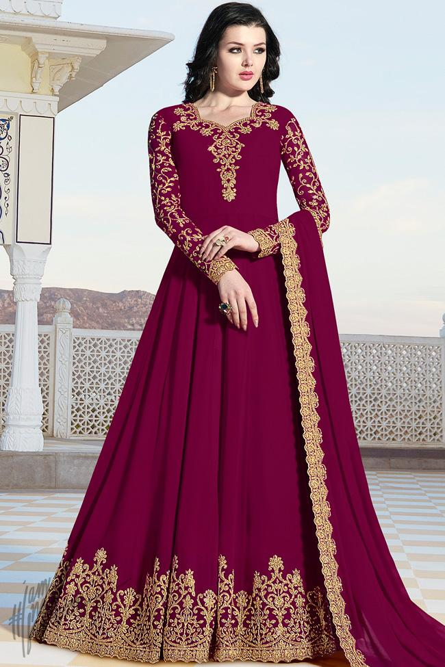 Plum Purple Georgette Party Wear Anarkali Suit