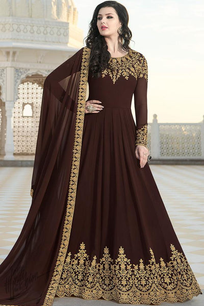 Dark Brown Georgette Party Wear Anarkali Suit