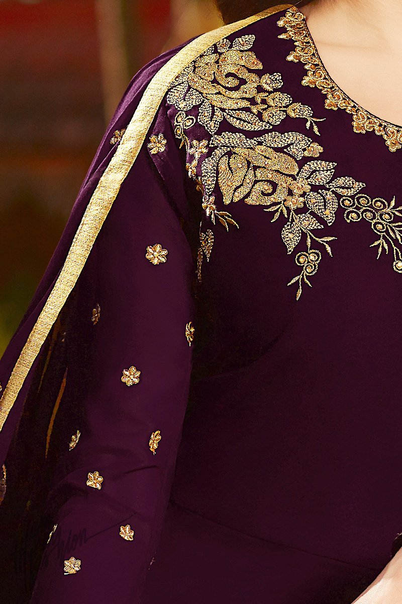 Purple Georgette Party Wear Floor Length Suit