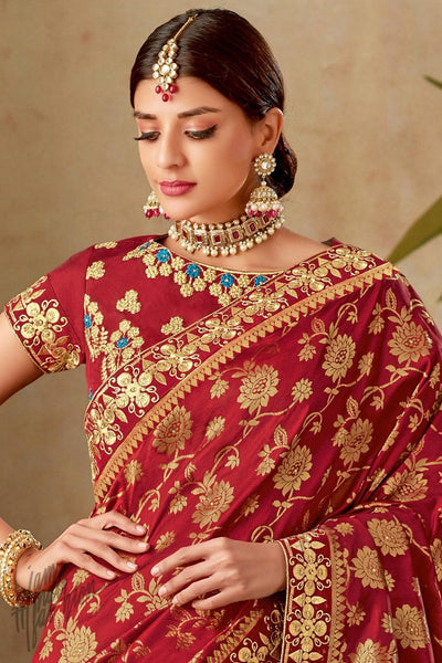 Red and Beige Half and Half Silk Saree