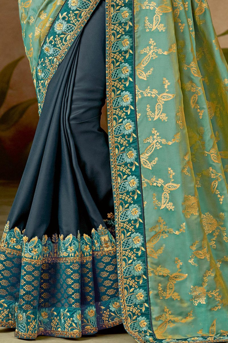 Teal and Denim Blue Half and Half Silk Saree