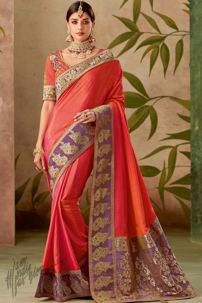 Pink Orange and Purple Silk Saree