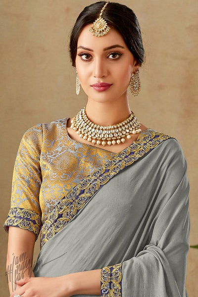 Gray and Gold Silk Saree