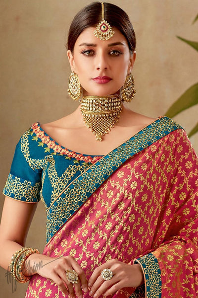 Pink and Blue Half and Half Silk Saree