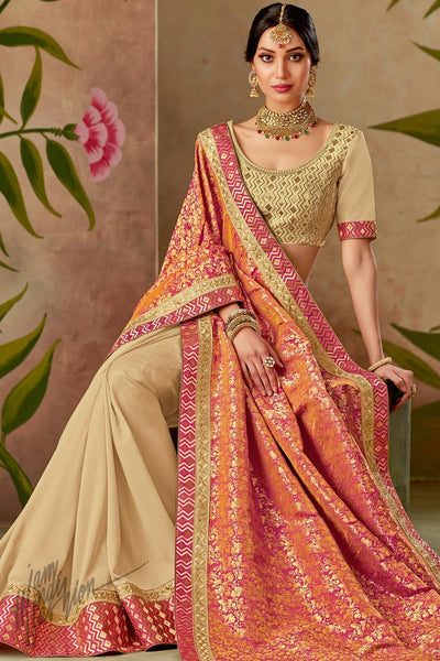Beige and Orange Half and Half Silk Saree