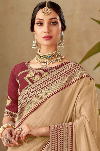 Beige and Maroon Silk Saree