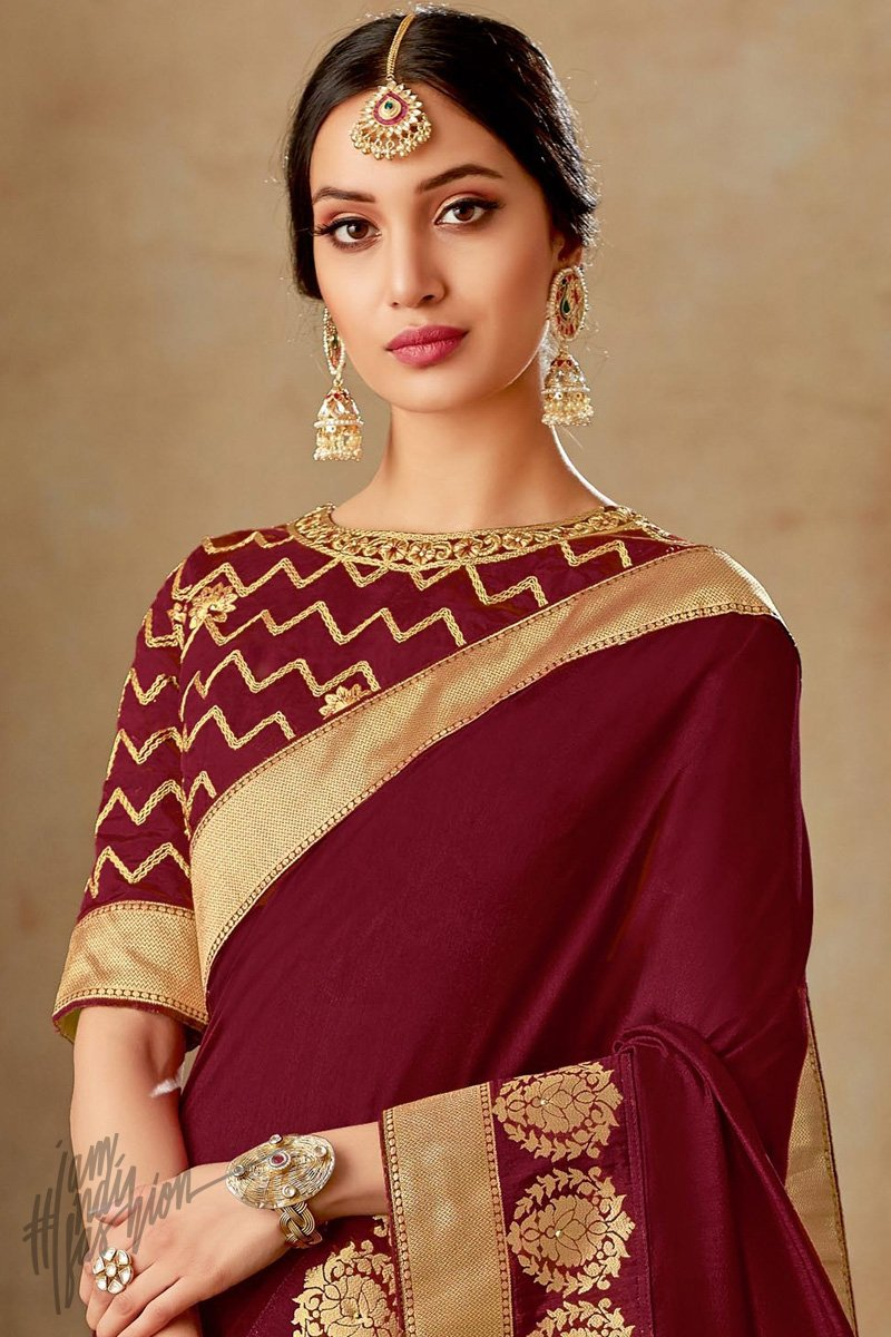 Wine and Gold Silk Saree