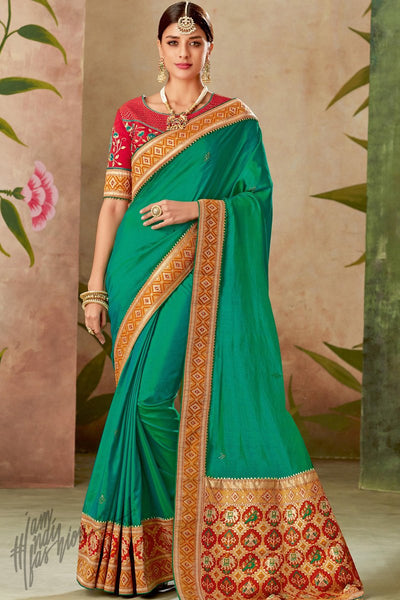 Green and Rani Pink Silk Saree