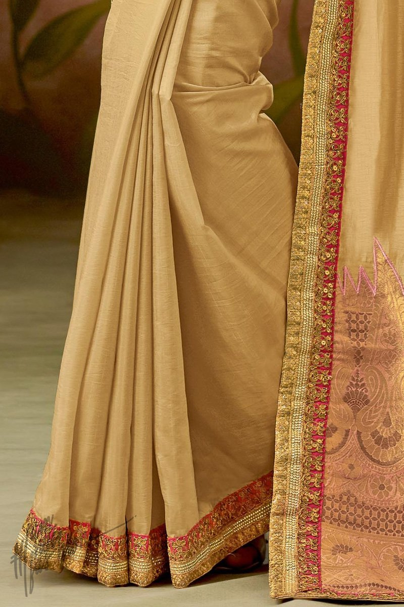 Beige and Pink Silk Saree