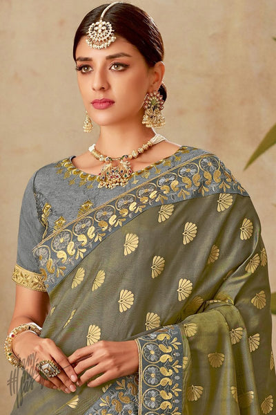 Gray and Olive Half and Half Silk Saree