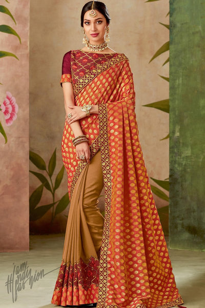 Red Beige and Wine Half and Half Silk Saree