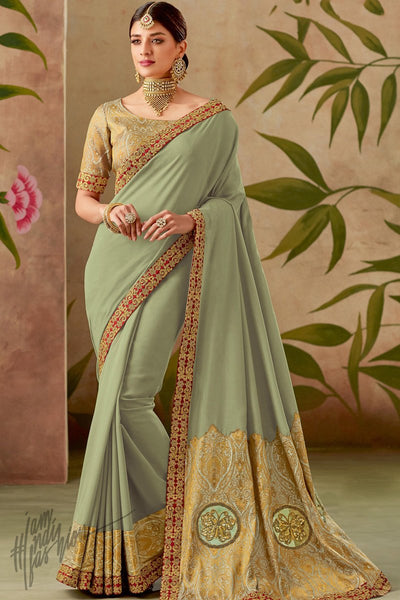 Pastel Green and Gold Silk Saree