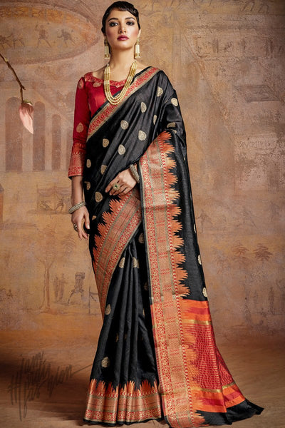 Indi Fashion Black and Red Self Weaving Silk Saree