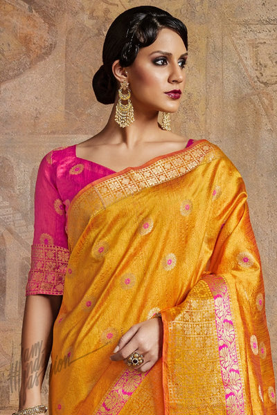 Indi Fashion Fanta Yellow and Magenta Self Weaving Silk Saree