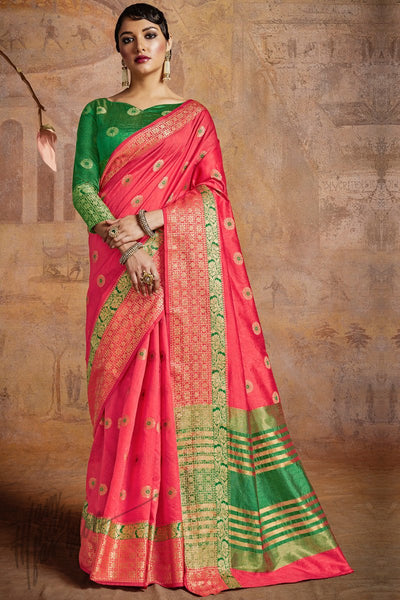 Indi Fashion Pink and Green Self Weaving Silk Saree