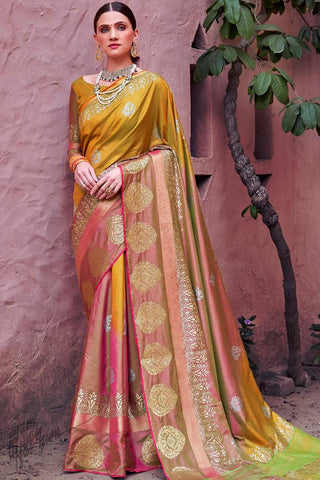 Mehandi and Rust Shaded Silk Saree