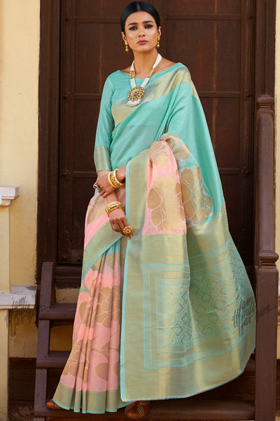 Pastel Blue and Baby Pink Silk Saree