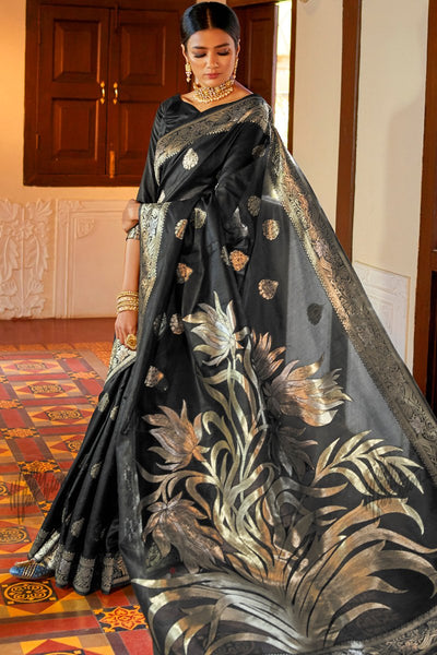 Black Silver and Gold Silk Saree