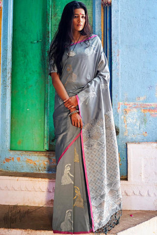 Silver Gray Silk Saree