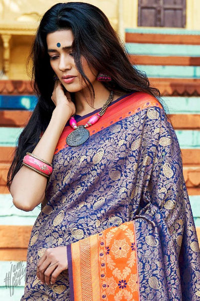 Blue and Orange Silk Saree