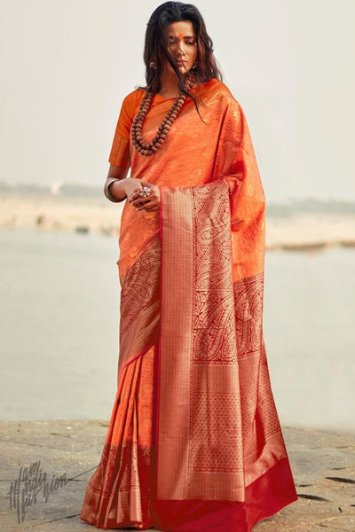 Orange and Maroon Silk Saree