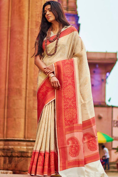 Beige and Red Silk Saree