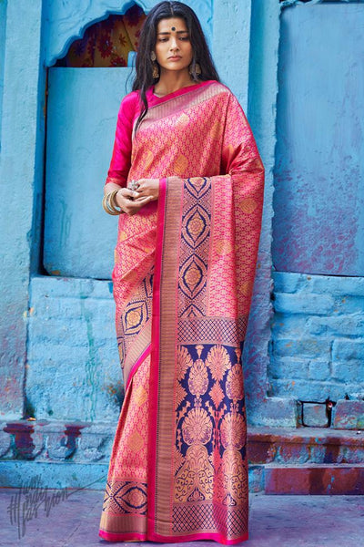 Fuschia and Blue Silk Saree