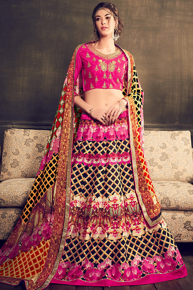 Buy Pink Multi Color Banglori Silk Party Wear Lehenga Online at indi.fashion