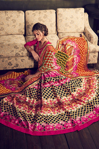 Indi Fashion Pink Multi Color Banglori Silk Party Wear Lehenga