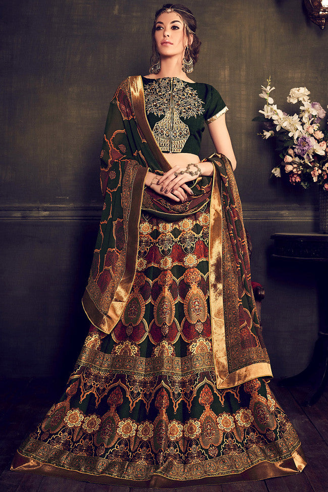 Indi Fashion Green Multi Color Banglori Silk Party Wear Lehenga