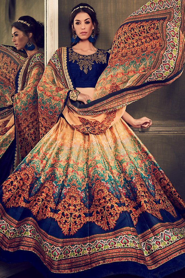 Indi Fashion Blue Multi Color Banglori Silk Party Wear Lehenga