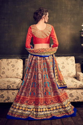 Indi Fashion Orange Multi Color Banglori Silk Party Wear Lehenga