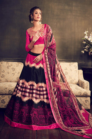 Indi Fashion Magenta Multi Color Banglori Silk Party Wear Lehenga