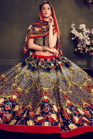 Indi Fashion Deep Blue Multi Color Banglori Silk Party Wear Lehenga