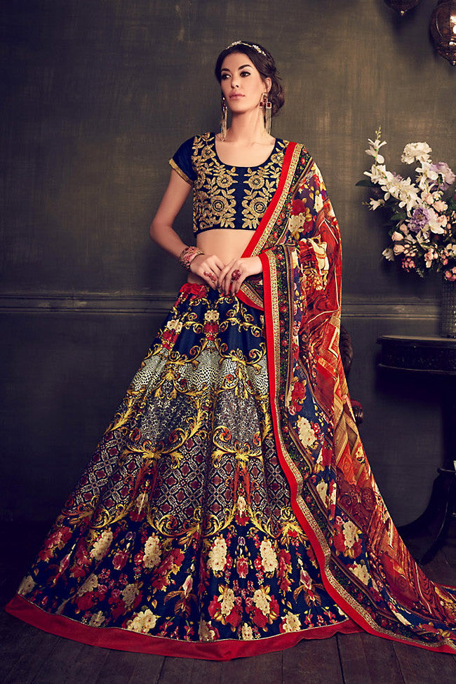 Buy Deep Blue Multi Color Banglori Silk Party Wear Lehenga Online at indi.fashion